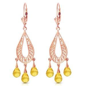 CHANDELIERS EARRING WITH NATURAL CITRINES